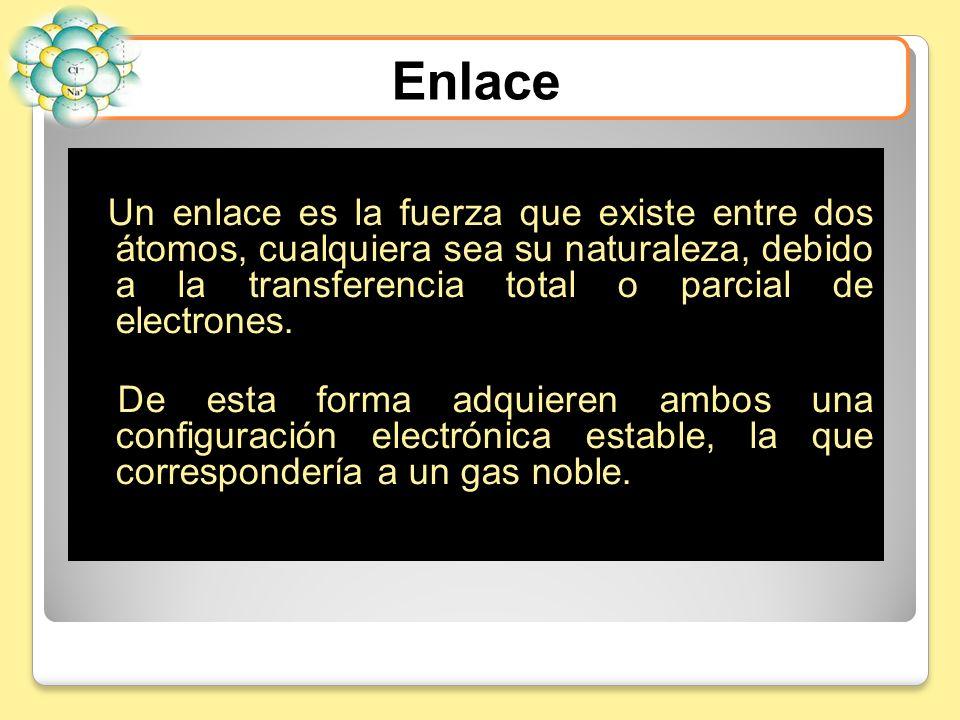 Enlace Un enlace es la fuerza que existe entre dos átomos, cualquiera sea su naturaleza, debido a la transferencia total o parcial de electrones.