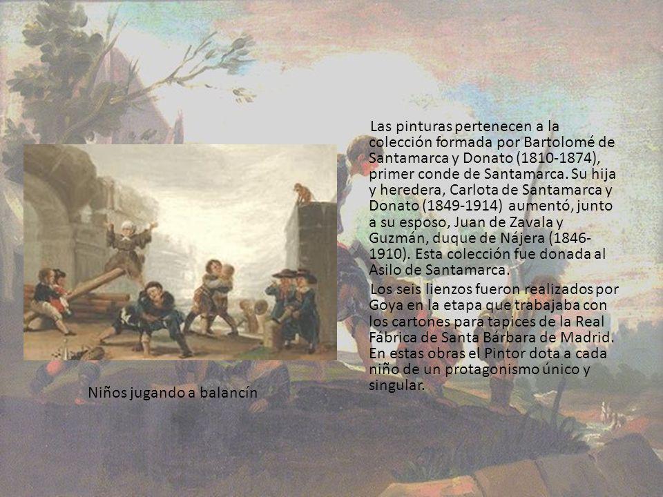 Las pinturas pertenecen a la colección formada por Bartolomé de Santamarca y Donato (1810-1874), primer conde de Santamarca. Su hija y heredera, Carlota de Santamarca y Donato (1849-1914) aumentó, junto a su esposo, Juan de Zavala y Guzmán, duque de Nájera (1846-1910). Esta colección fue donada al Asilo de Santamarca.