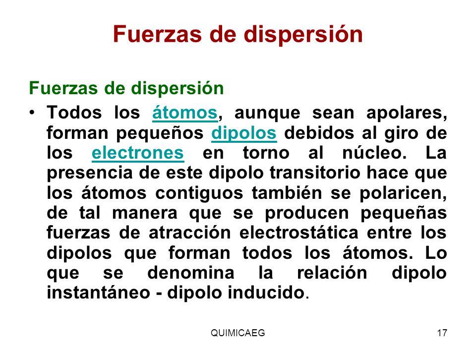 Fuerzas de dispersión Fuerzas de dispersión