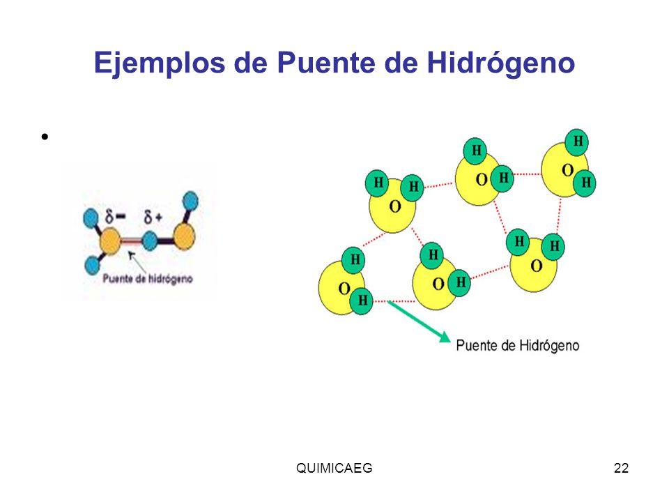 Ejemplos de Puente de Hidrógeno