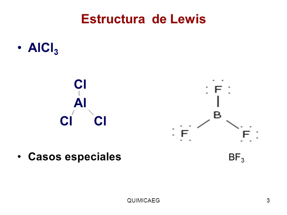 Estructura de Lewis AlCl3. Cl. Al. Cl Cl. Casos especiales BF3.