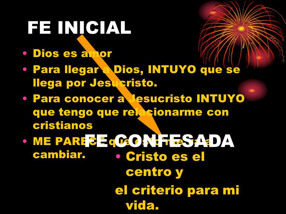 FE INICIAL FE CONFESADA Cristo es el centro y