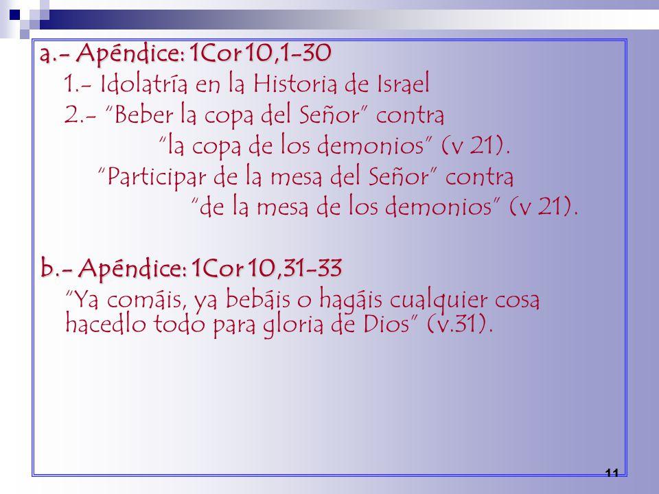 a.- Apéndice: 1Cor 10,1-30 1.- Idolatría en la Historia de Israel. 2.- Beber la copa del Señor contra.