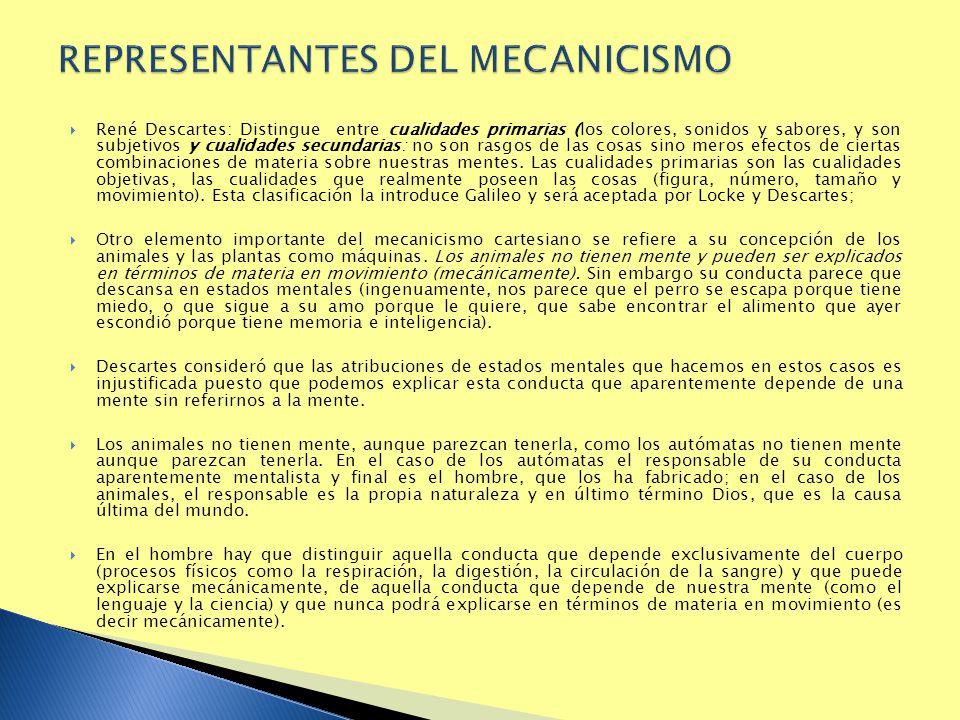REPRESENTANTES DEL MECANICISMO