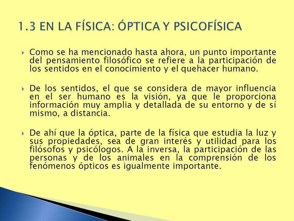 1.3 EN LA FÍSICA: ÓPTICA Y PSICOFÍSICA