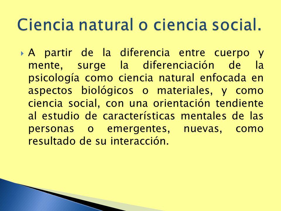 Ciencia natural o ciencia social.