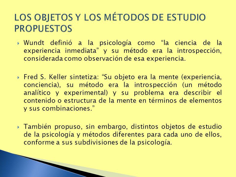 LOS OBJETOS Y LOS MÉTODOS DE ESTUDIO PROPUESTOS