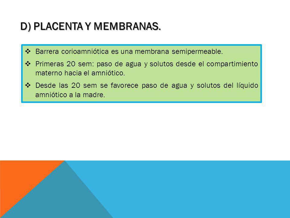 D) PLACENTA Y MEMBRANAS.