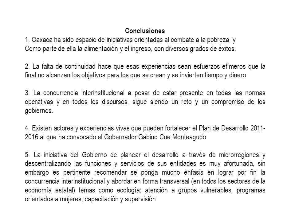 Conclusiones 1. Oaxaca ha sido espacio de iniciativas orientadas al combate a la pobreza y.