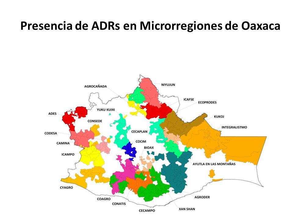 Presencia de ADRs en Microrregiones de Oaxaca