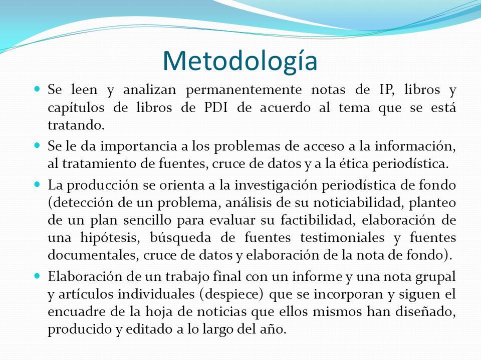Metodología Se leen y analizan permanentemente notas de IP, libros y capítulos de libros de PDI de acuerdo al tema que se está tratando.