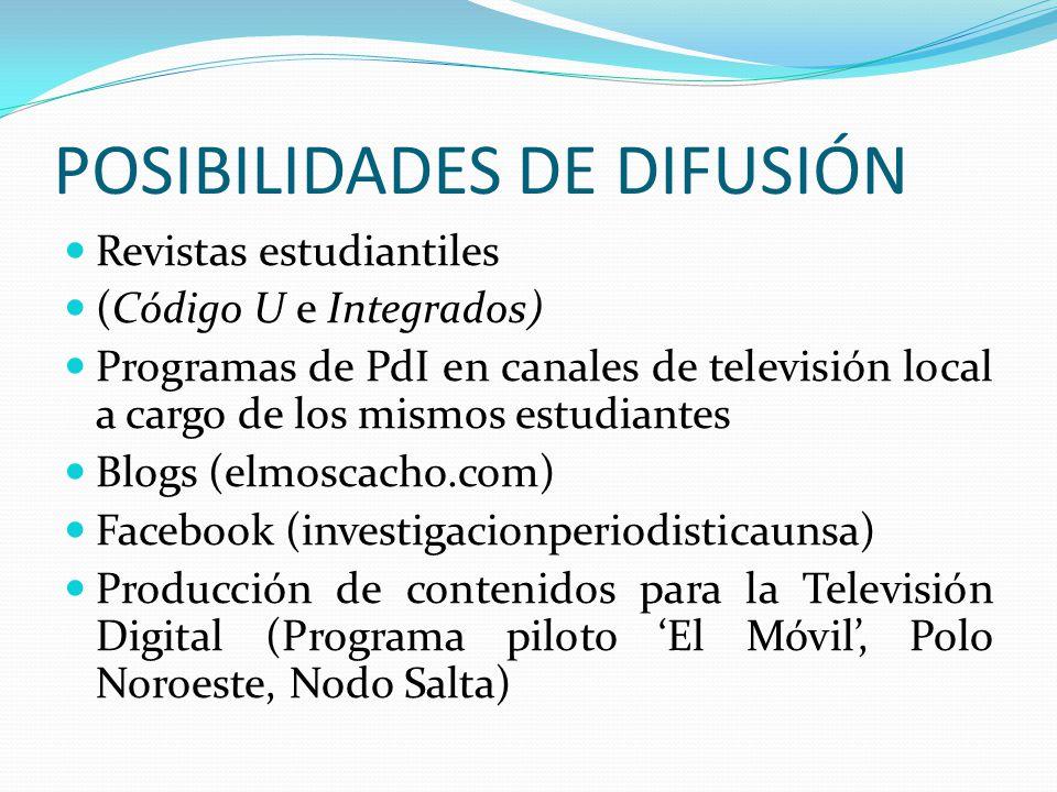 POSIBILIDADES DE DIFUSIÓN