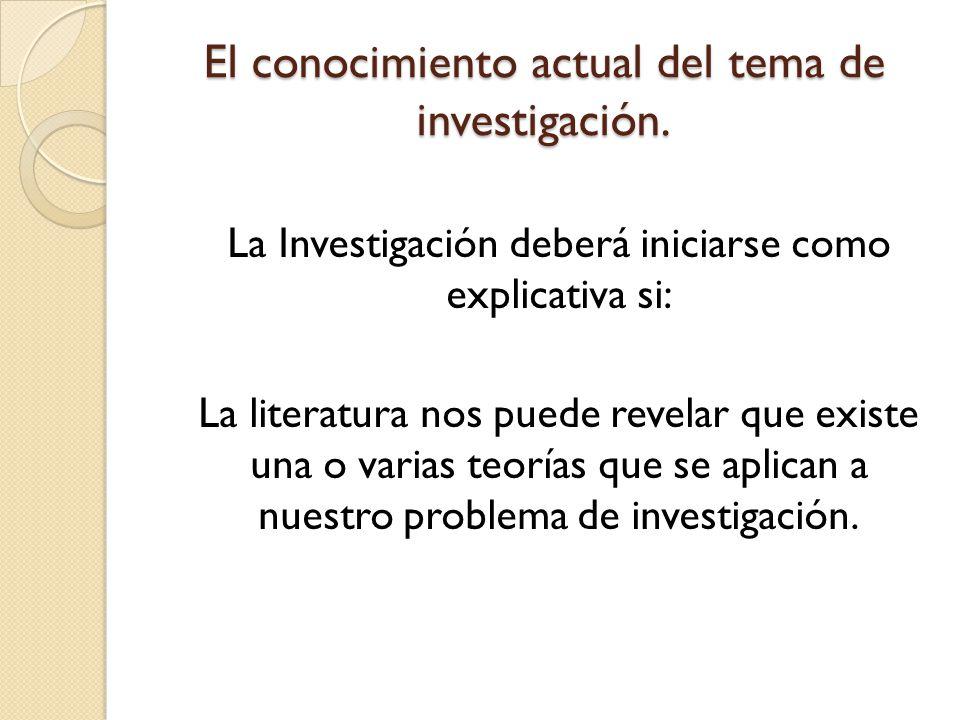 El conocimiento actual del tema de investigación.