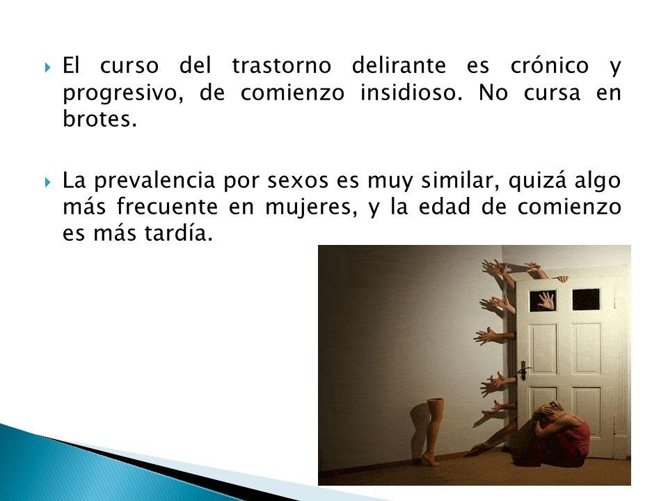 El curso del trastorno delirante es crónico y progresivo, de comienzo insidioso. No cursa en brotes.
