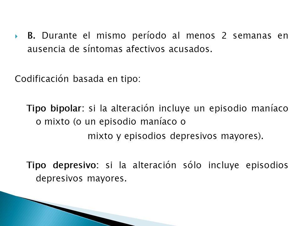 B. Durante el mismo período al menos 2 semanas en ausencia de síntomas afectivos acusados.