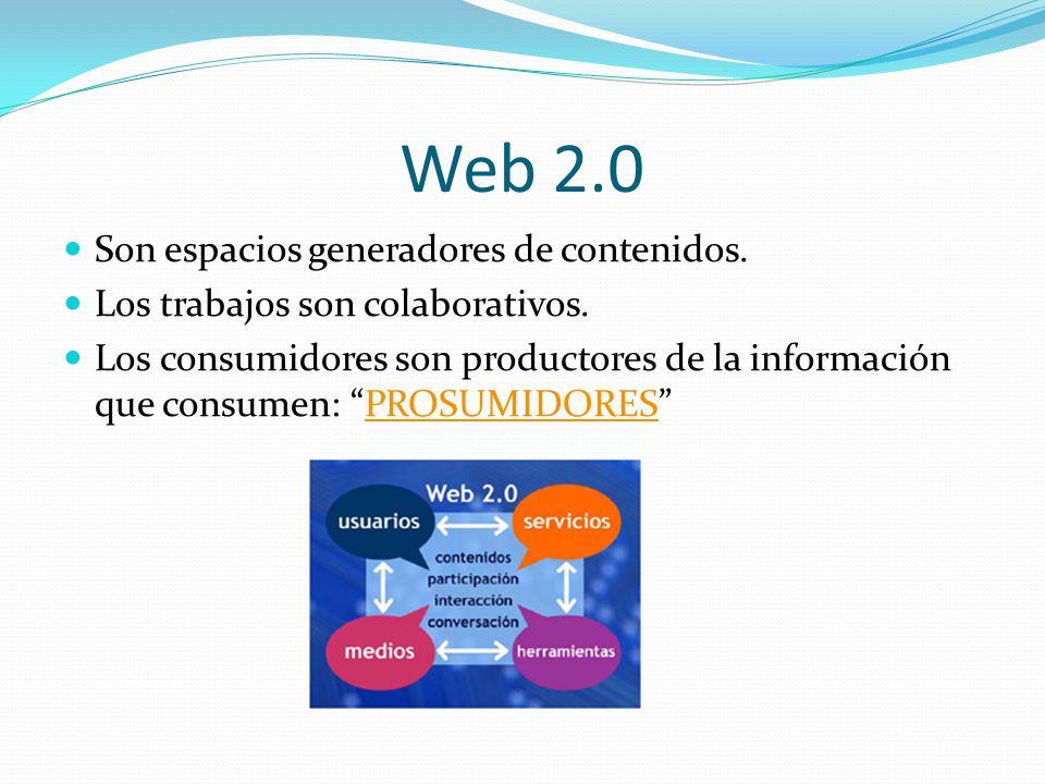Web 2.0 Son espacios generadores de contenidos.