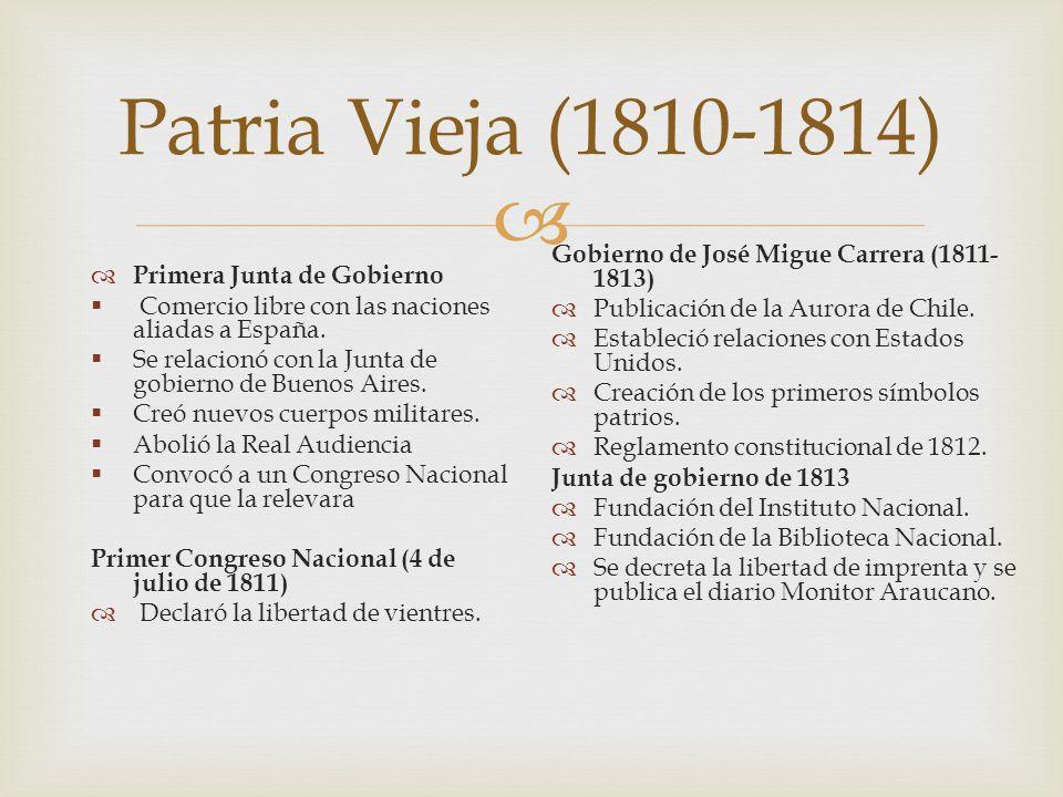 Patria Vieja (1810-1814) Gobierno de José Migue Carrera (1811-1813)
