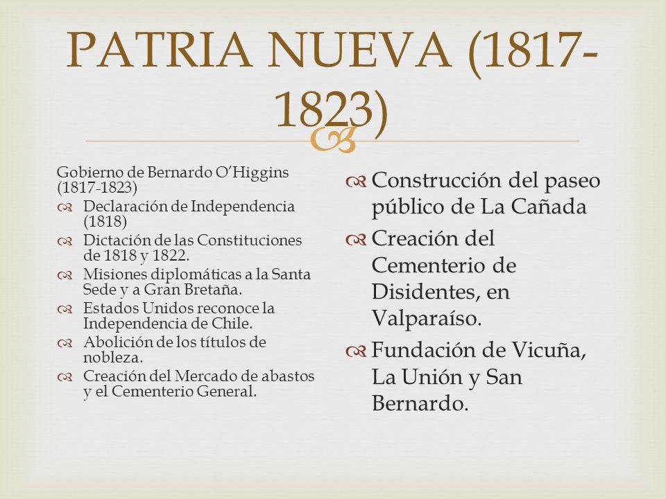 PATRIA NUEVA (1817-1823) Construcción del paseo público de La Cañada