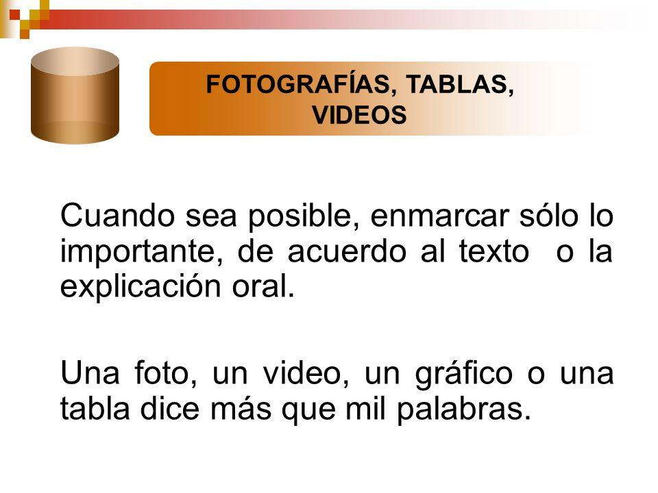 FOTOGRAFÍAS, TABLAS, VIDEOS