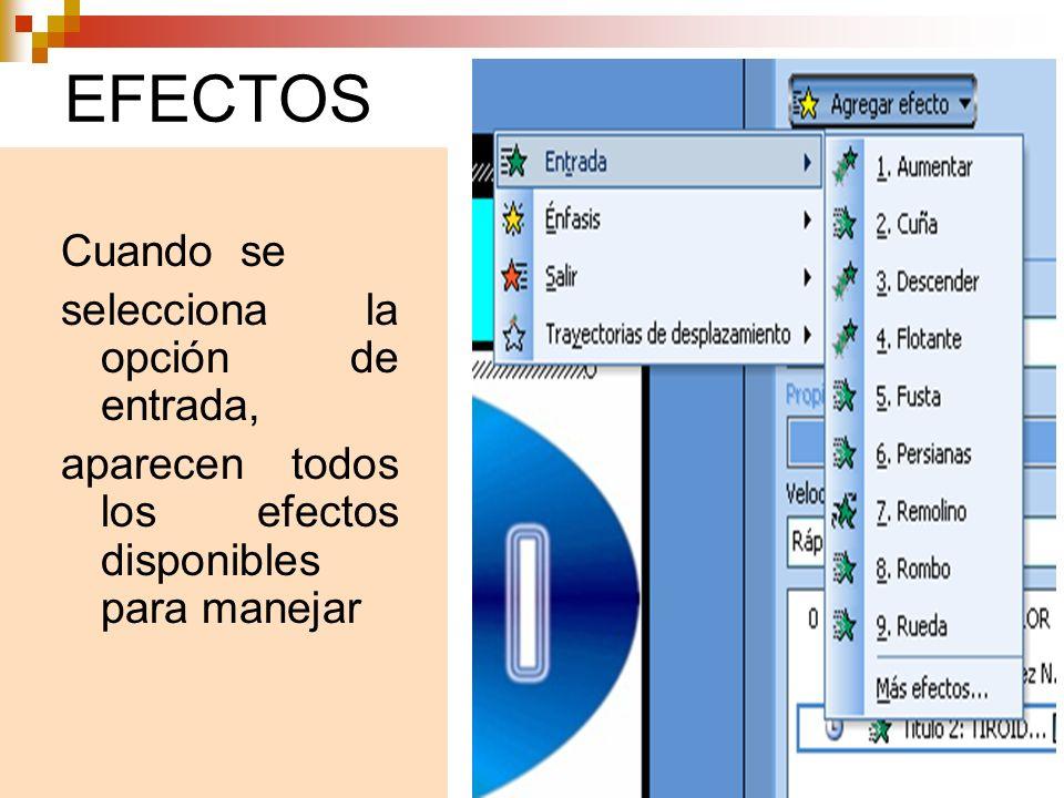 EFECTOS Cuando se selecciona la opción de entrada, aparecen todos los efectos disponibles para manejar
