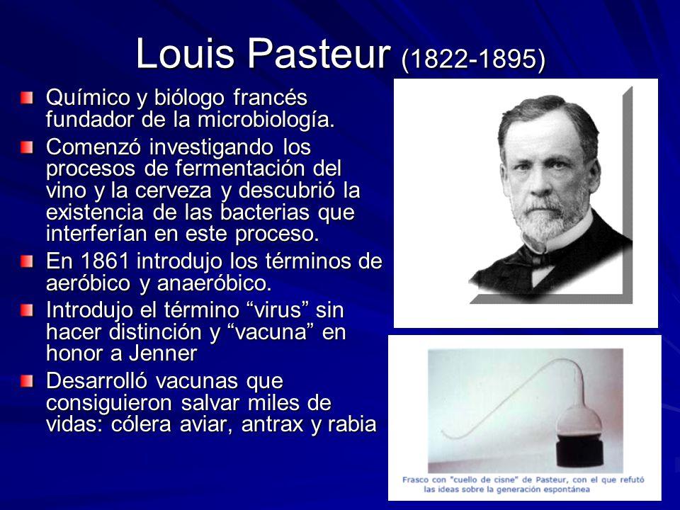 Louis Pasteur (1822-1895) Químico y biólogo francés fundador de la microbiología.