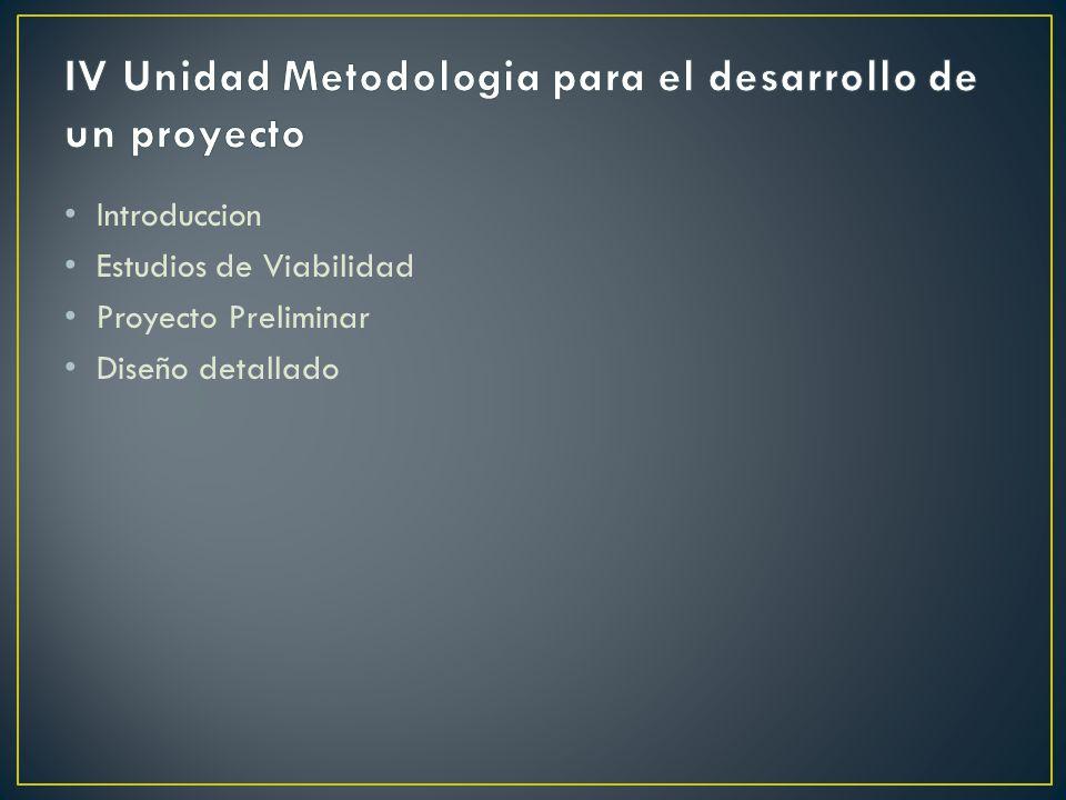 IV Unidad Metodologia para el desarrollo de un proyecto
