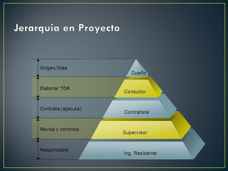 Jerarquia en Proyecto Dueño Consultor Contratista Supervisor