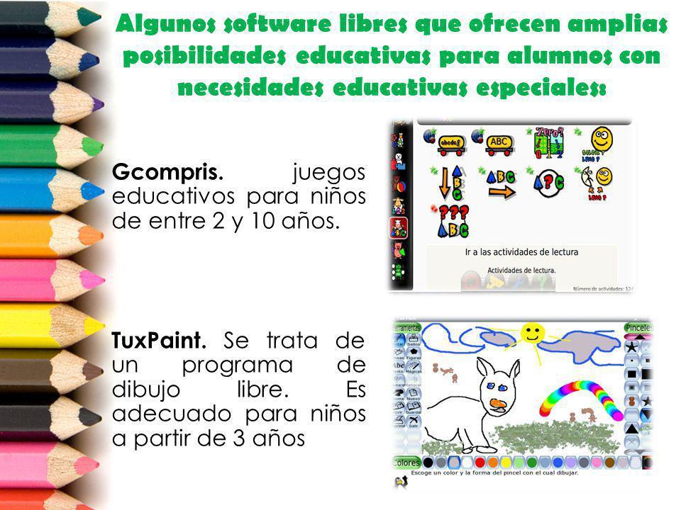 Algunos software libres que ofrecen amplias posibilidades educativas para alumnos con necesidades educativas especiales: