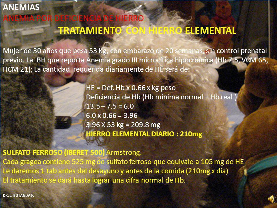 ANEMIA POR DEFICIENCIA DE HIERRO TRATAMIENTO CON HIERRO ELEMENTAL