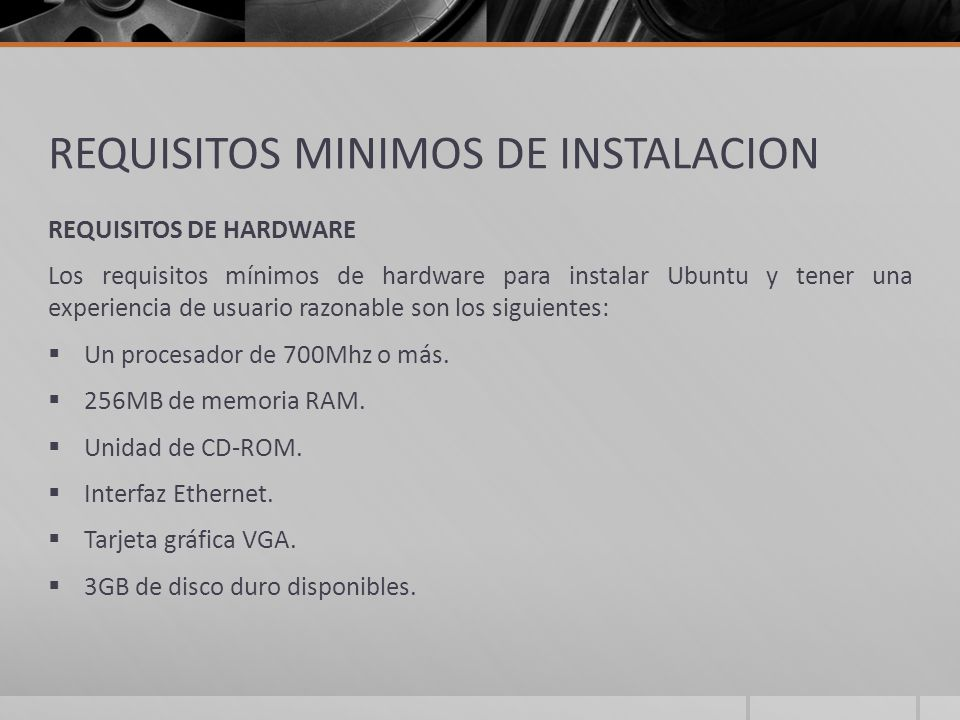 REQUISITOS MINIMOS DE INSTALACION