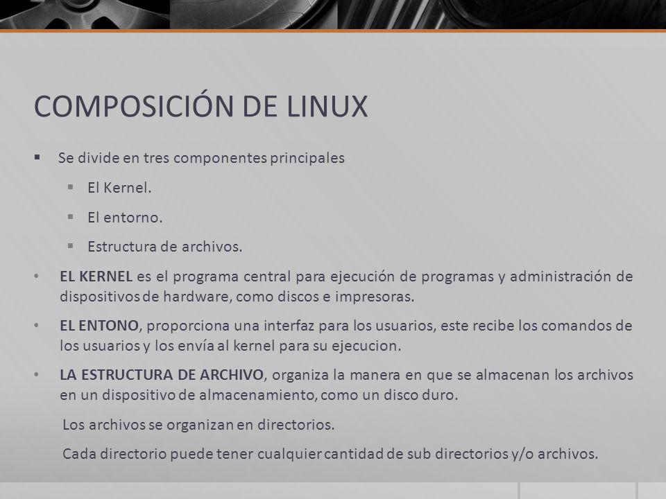COMPOSICIÓN DE LINUX Se divide en tres componentes principales
