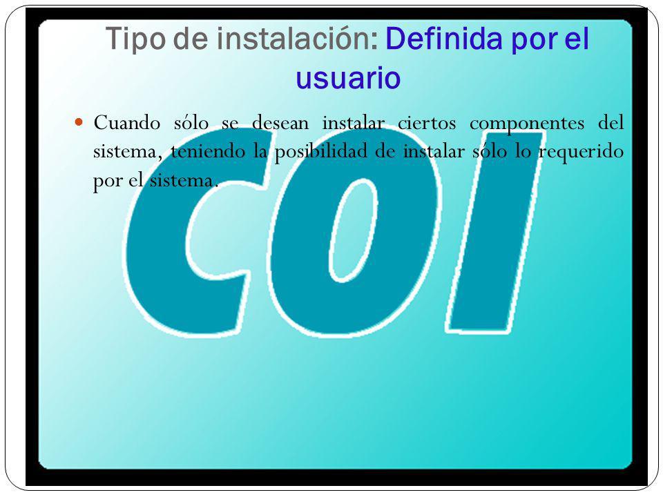 Tipo de instalación: Definida por el usuario