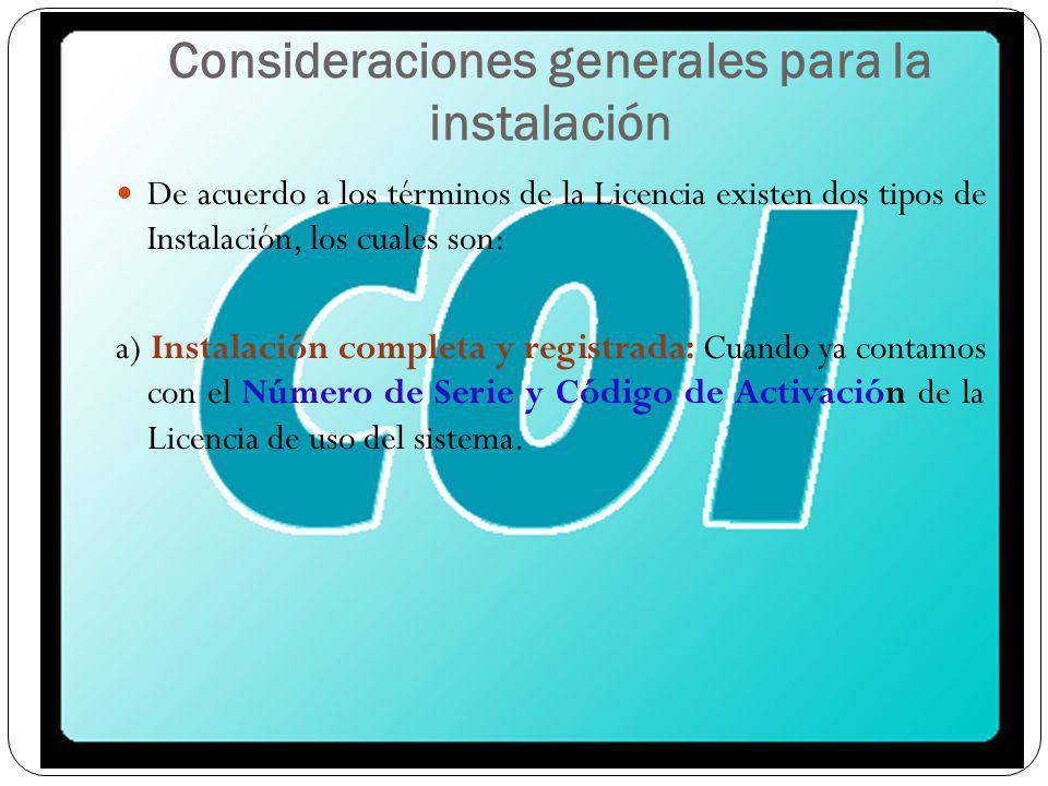 Consideraciones generales para la instalación