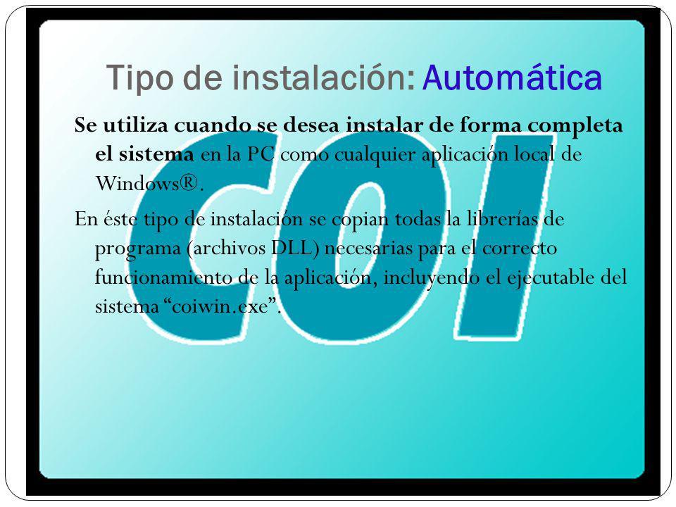 Tipo de instalación: Automática