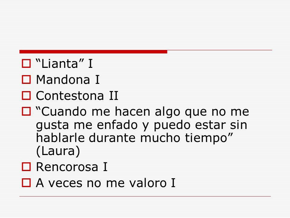 Lianta I Mandona I. Contestona II. Cuando me hacen algo que no me gusta me enfado y puedo estar sin hablarle durante mucho tiempo (Laura)