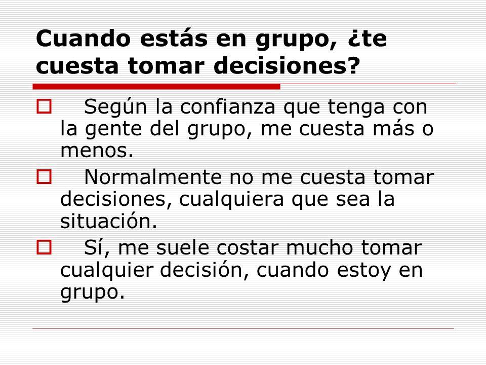 Cuando estás en grupo, ¿te cuesta tomar decisiones