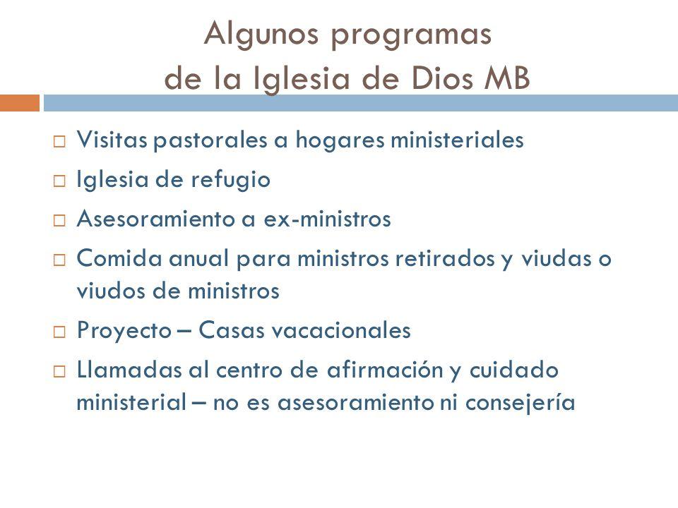 Algunos programas de la Iglesia de Dios MB