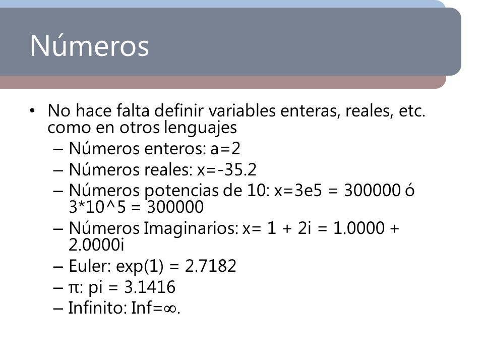 Números No hace falta definir variables enteras, reales, etc. como en otros lenguajes. Números enteros: a=2.