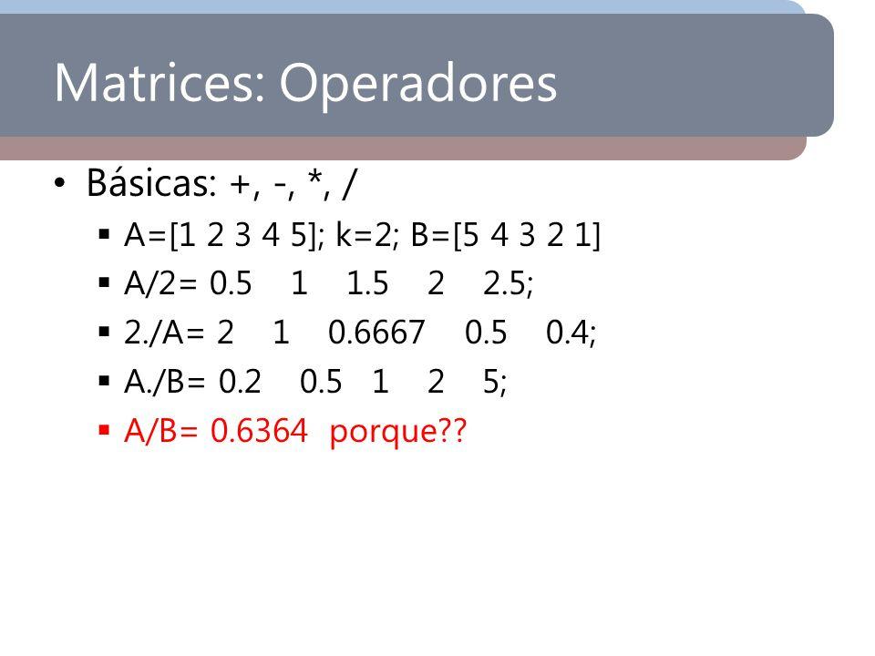 Matrices: Operadores Básicas: +, -, *, /