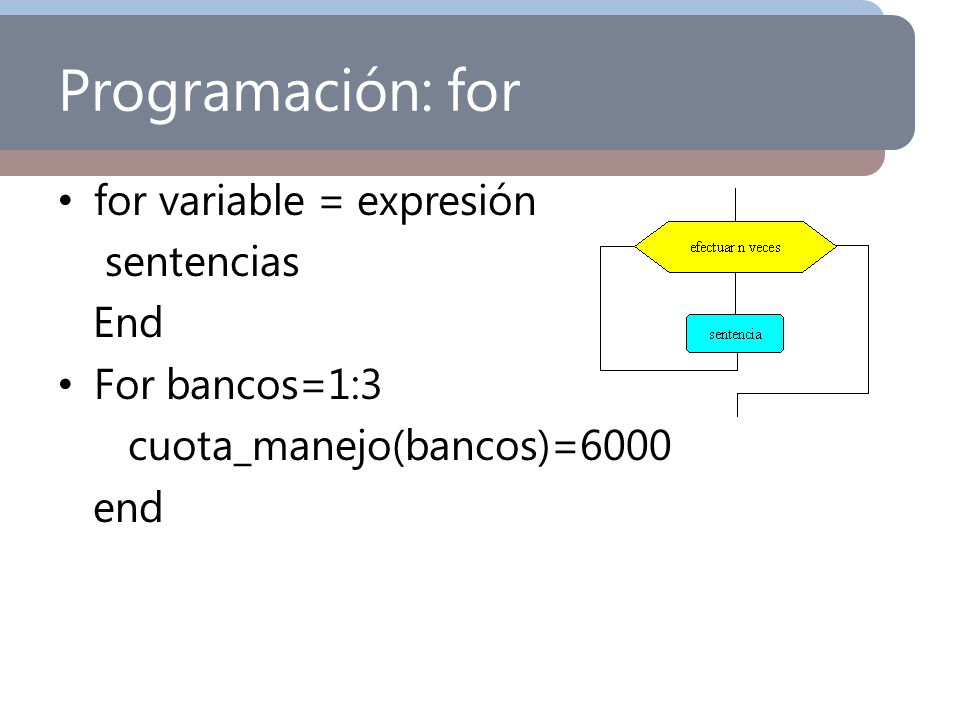 Programación: for for variable = expresión sentencias End