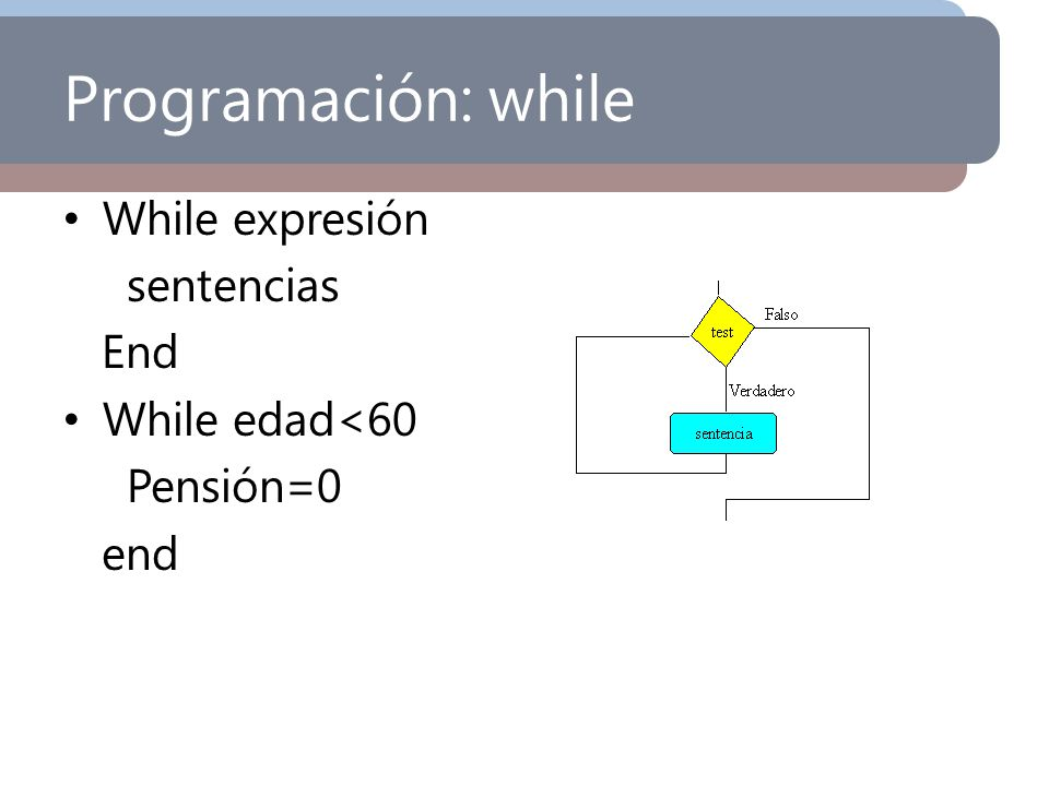 Programación: while While expresión sentencias End While edad<60