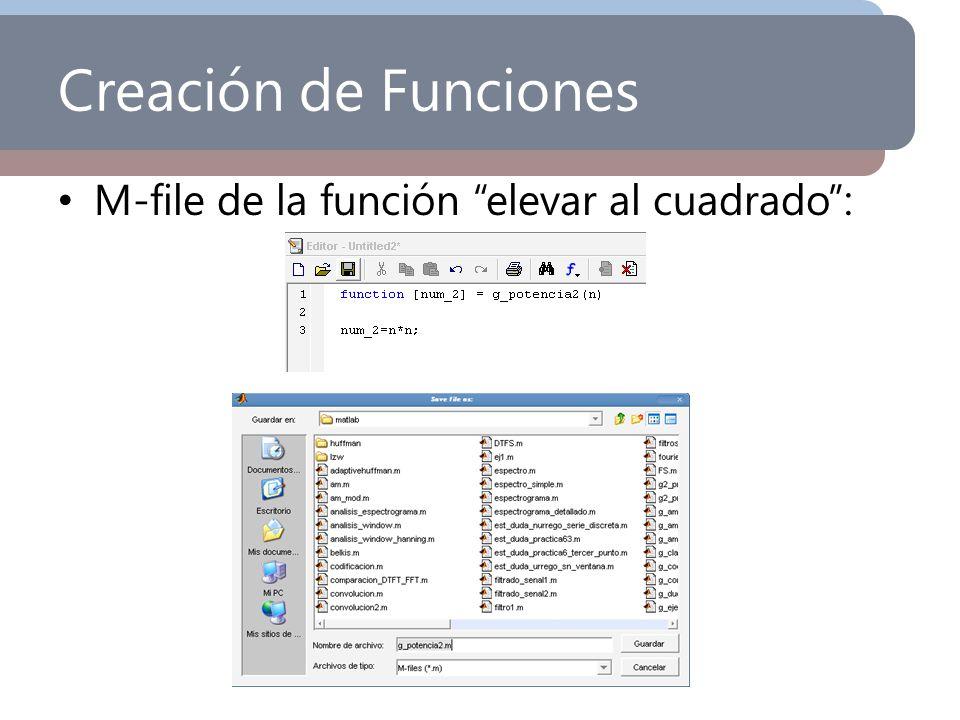 Creación de Funciones M-file de la función elevar al cuadrado :