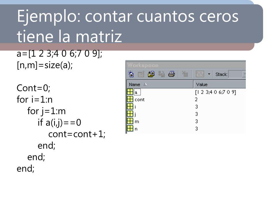 Ejemplo: contar cuantos ceros tiene la matriz