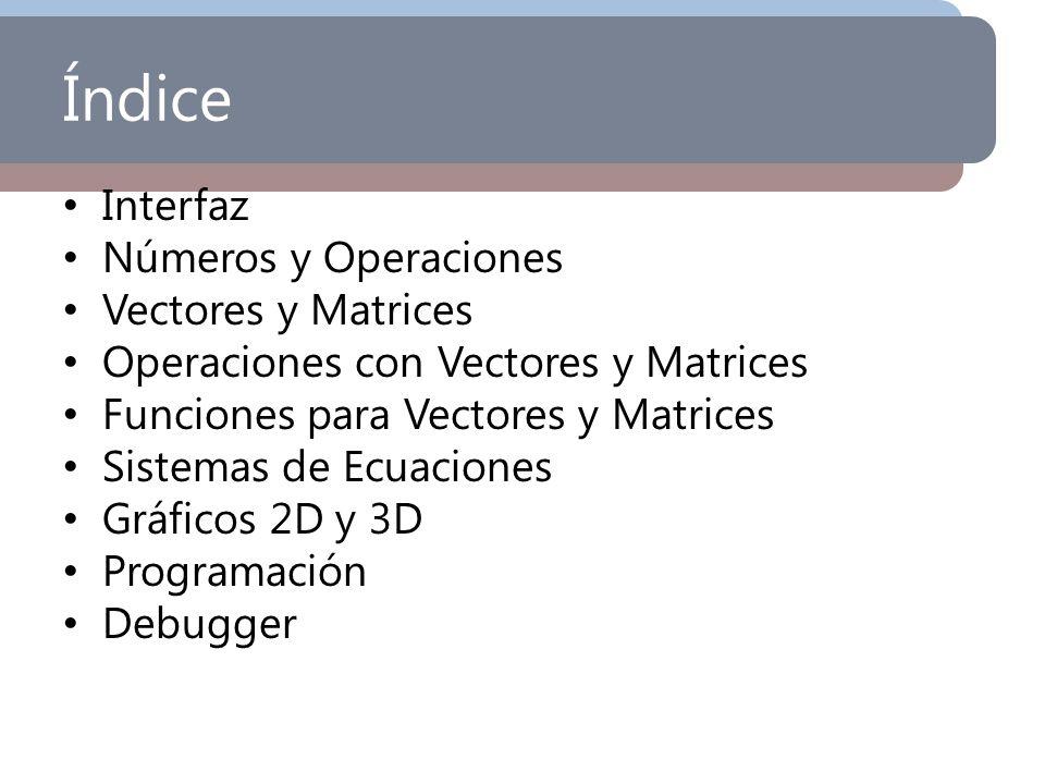 Índice Interfaz Números y Operaciones Vectores y Matrices