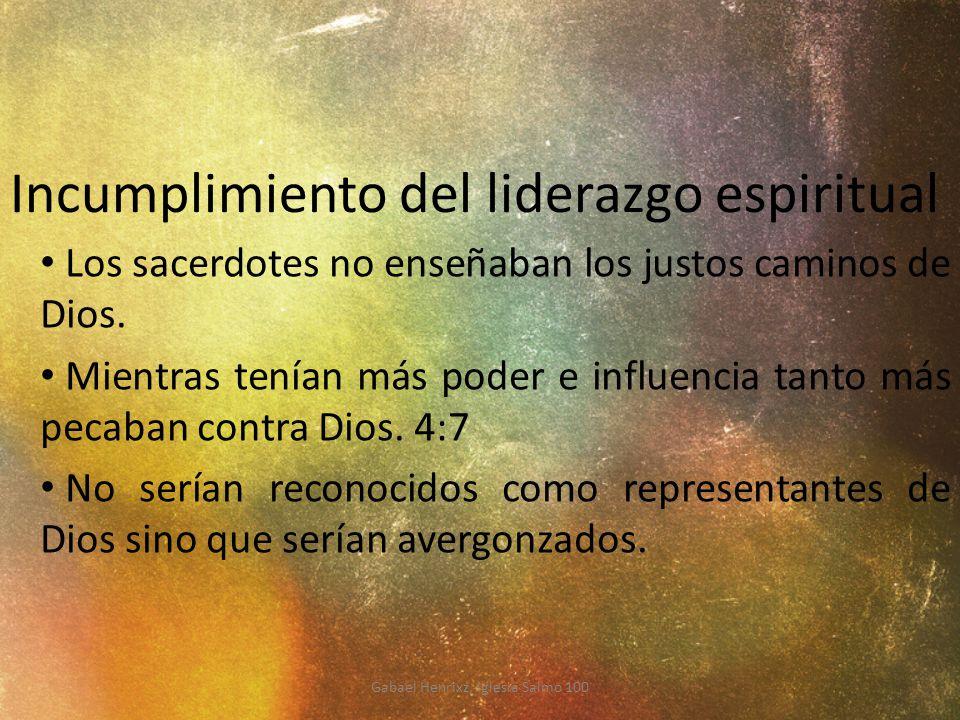 Incumplimiento del liderazgo espiritual