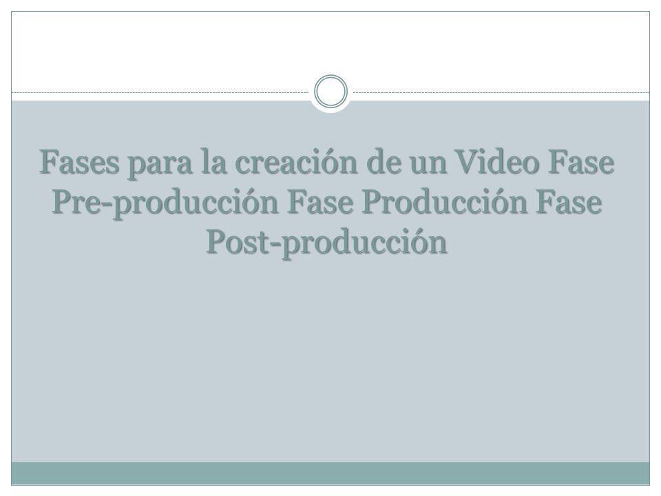 Fases para la creación de un Video Fase Pre-producción Fase Producción Fase Post-producción