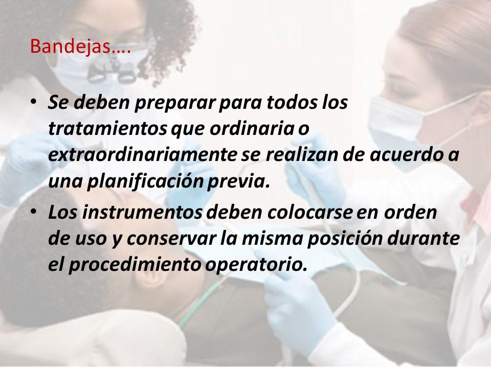 Bandejas…. Se deben preparar para todos los tratamientos que ordinaria o extraordinariamente se realizan de acuerdo a una planificación previa.