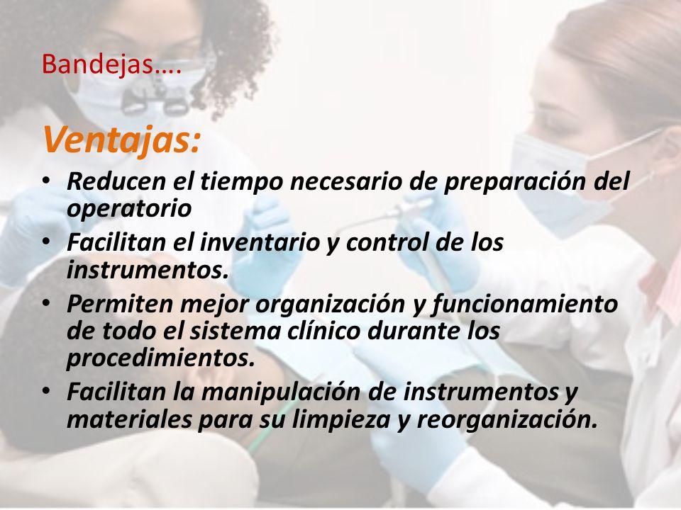 Bandejas…. Ventajas: Reducen el tiempo necesario de preparación del operatorio. Facilitan el inventario y control de los instrumentos.