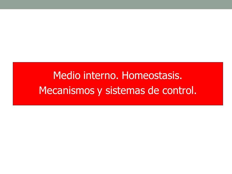 Medio interno. Homeostasis. Mecanismos y sistemas de control.