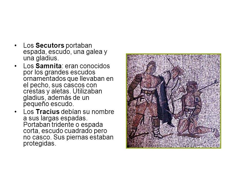 Los Secutors portaban espada, escudo, una galea y una gladius.